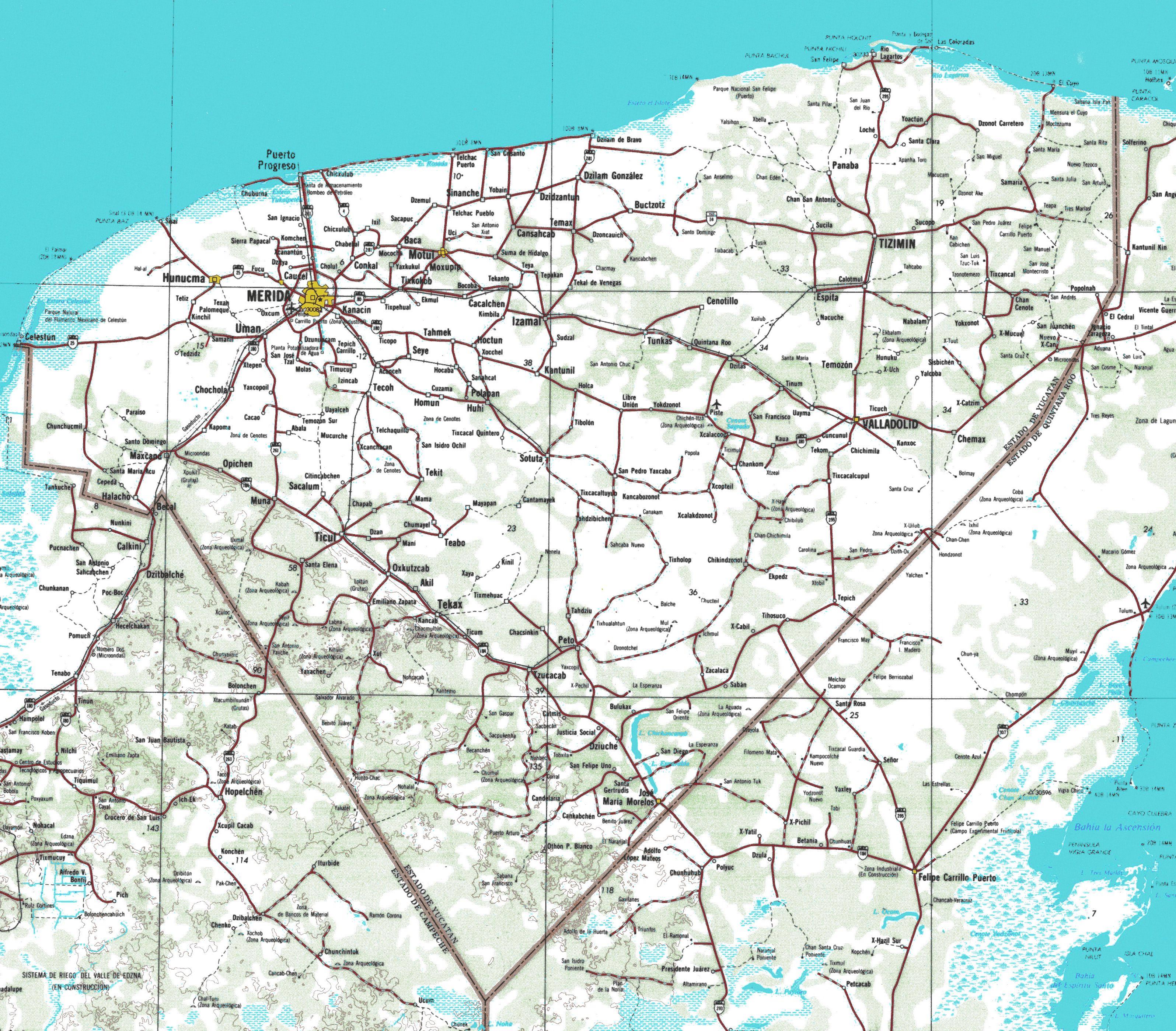 Mapas De La Penisula De Yucatan